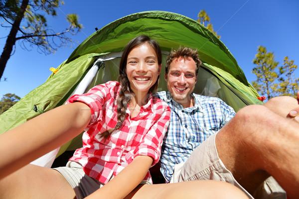 Camping persone tenda autoritratto fotocamera Foto d'archivio © Maridav