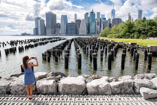 New York tourist woman taking mobile phone picture Stock photo © Maridav