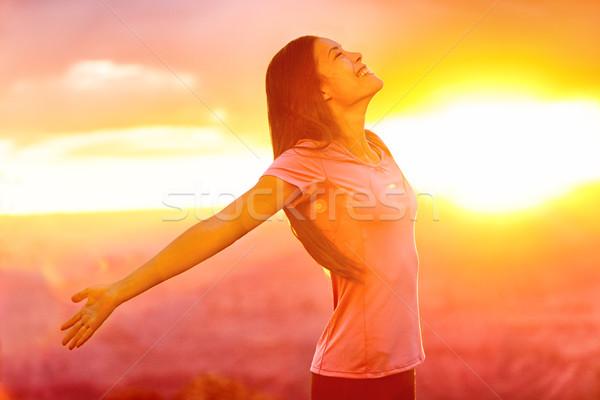 Pessoas felizes livre mulher natureza pôr do sol Foto stock © Maridav