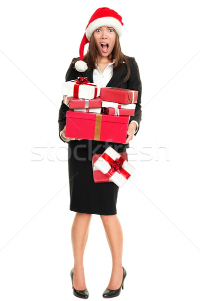 Christmas stress woman shopping gifts Stock photo © Maridav