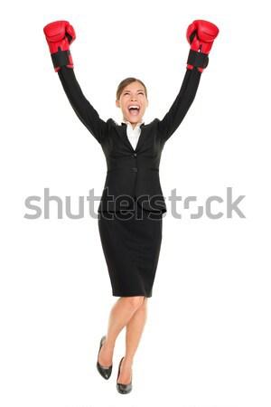 Stockfoto: Succes · zakenvrouw · permanente · juichen · armen · lucht