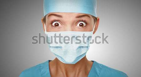 ストックフォト: 医師 · 外科医 · 女性 · 面白い · クローズアップ
