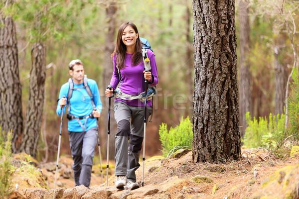 Hikers orman çift yürüyüş düşmek Asya Stok fotoğraf © Maridav