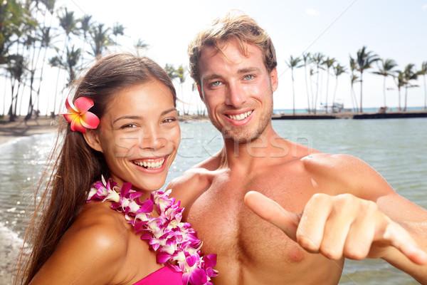 ハワイ カップル 幸せ ビーチ 女性 着用 ストックフォト © Maridav