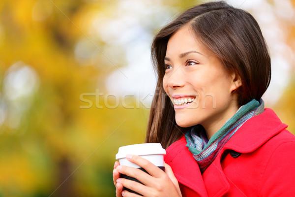 Young woman drinking coffee in Autumn / fall Stock photo © Maridav