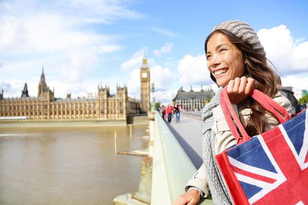 London woman holding shopping bag near Big Ben Stock photo © Maridav