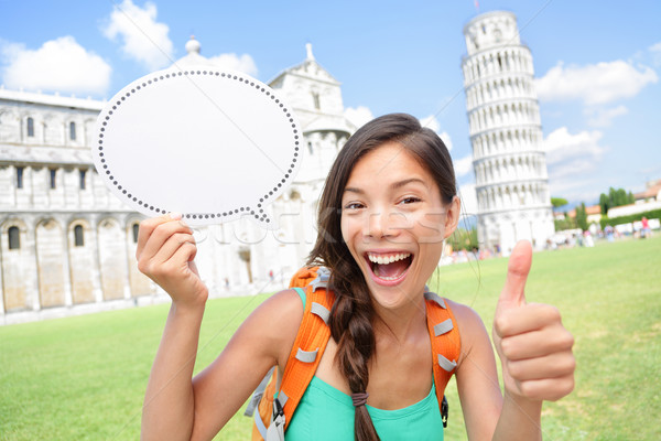 Travel tourist girl showing sign in Pisa, Italy Stock photo © Maridav