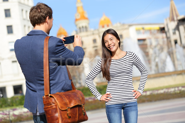Tourists taking picture on travel in Barcelona Stock photo © Maridav