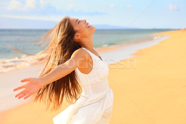Foto stock: Libre · feliz · mujer · playa · naturaleza