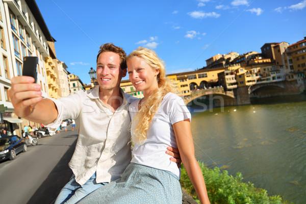 Gelukkig paar foto reizen florence romantische Stockfoto © Maridav