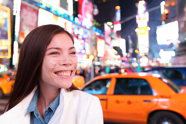 Woman in New York, Times Square at night Stock photo © Maridav