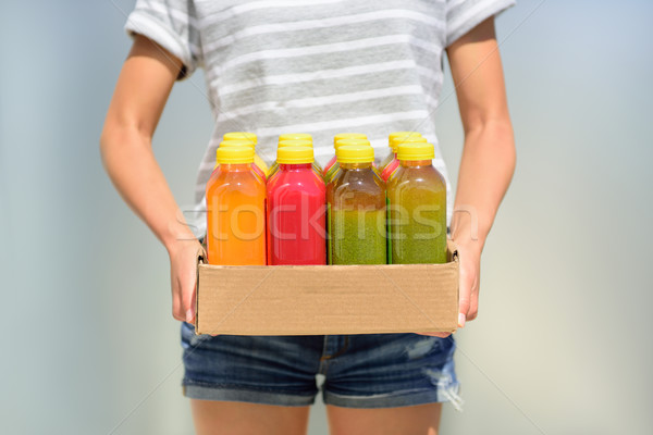 Cold pressed fruits and vegetables juices for diet Stock photo © Maridav