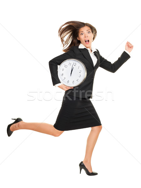 Stress femme d'affaires courir fin horloge bras Photo stock © Maridav