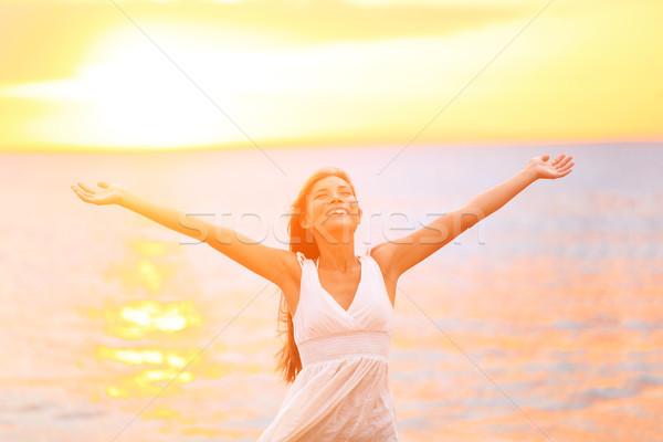 Photo stock: Liberté · femme · heureux · libre · ouvrir · bras