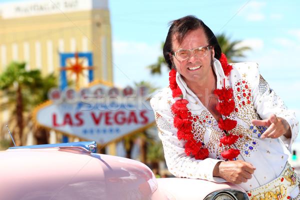 Las Vegas punta guardando fotocamera benvenuto favoloso Foto d'archivio © Maridav