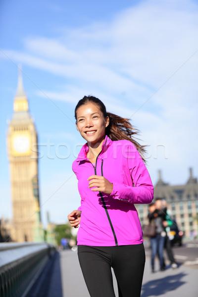 Running woman in London near Big Ben Stock photo © Maridav
