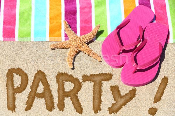 Playa fiesta viaje diversión escrito arena Foto stock © Maridav