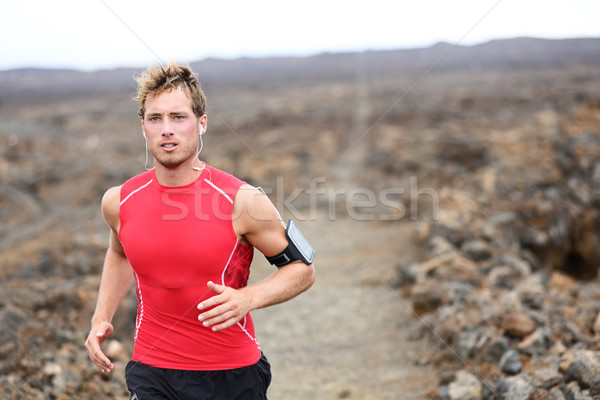 Man running - trail runner training Stock photo © Maridav