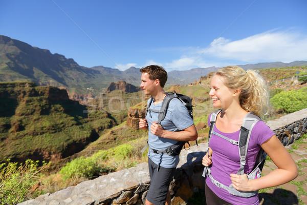 Hiker couple hiking on Gran Canaria Stock photo © Maridav
