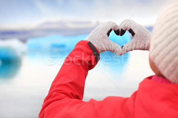 Love for Iceland - hand heart by Jokulsarlon Stock photo © Maridav