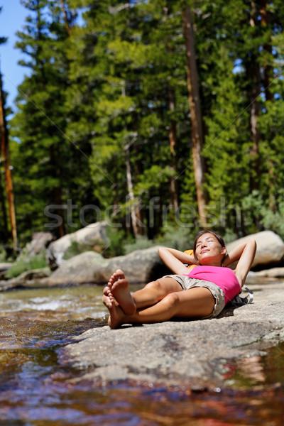 Hiking girl relaxing sleeping in nature forest Stock photo © Maridav