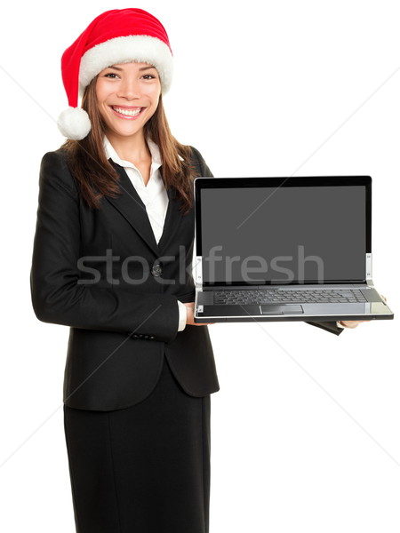 Stock fotó: Karácsony · üzletasszony · tart · számítógép · laptop · visel