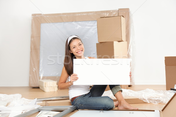 Moving sign woman Stock photo © Maridav