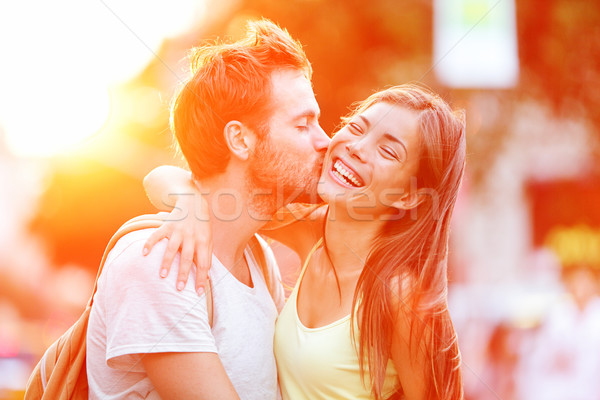 Couple baiser amusement rire Photo stock © Maridav