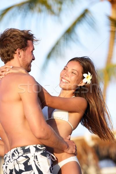 Foto stock: Praia · casal · amor · férias · verão · diversão