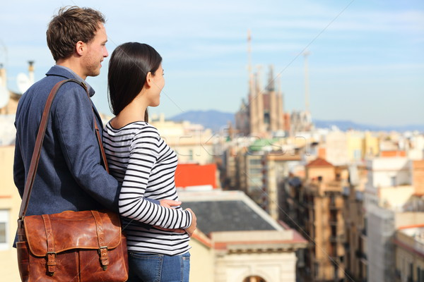 Barcelona - romantic couple looking at city view Stock photo © Maridav