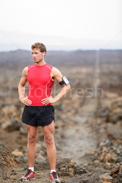 Stock photo: Runner man - portrait of running athlete resting