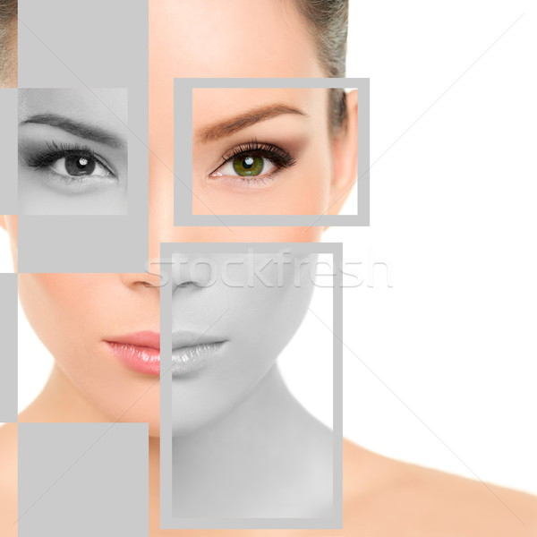Stock photo: Woman Beauty Portrait and Geometric Shapes On Face
