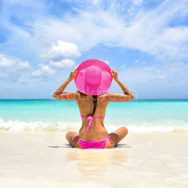 Nyári vakáció boldogság gondtalan szalmakalap nő tökéletes Stock fotó © Maridav