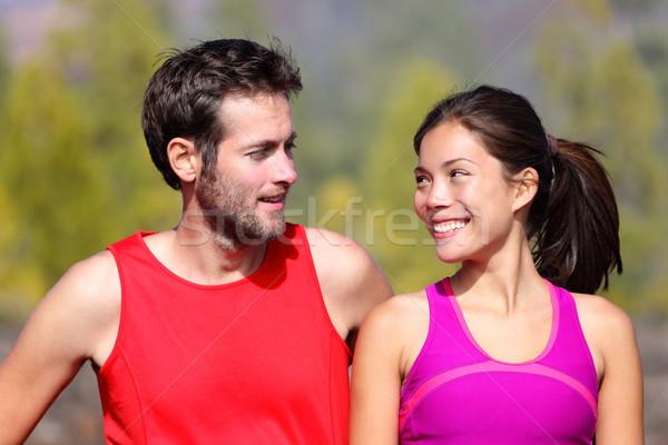 Glücklich sportlich Paar Porträt Läufer außerhalb Stock foto © Maridav