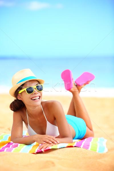 Happy beach woman laughing having fun Stock photo © Maridav