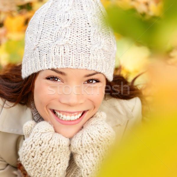 Photo stock: Automne · automne · femme · heureux · séance