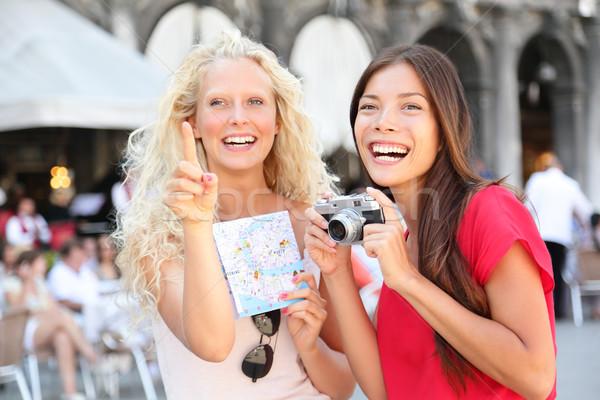 Foto stock: Turísticos · viaje · amigos · cámara · mapa · Venecia
