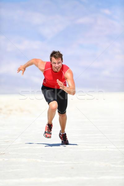 Runner - man running sprinting outdoor Stock photo © Maridav