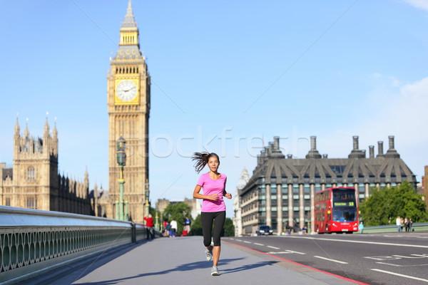 London lifestyle woman running near Big Ben Stock photo © Maridav