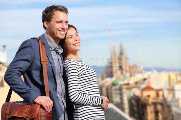 Mutlu romantik çift bakıyor görmek Barcelona Stok fotoğraf © Maridav