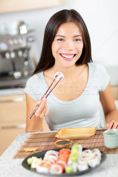 Stok fotoğraf: Sushi · yeme · genç · Asya · kadın · gülen