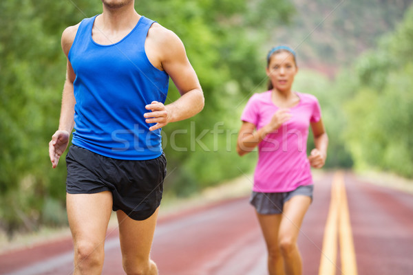 Maraton çalışma atlet çift eğitim yol Stok fotoğraf © Maridav