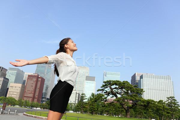 Freedom success businesswoman - Tokyo city skyline Stock photo © Maridav