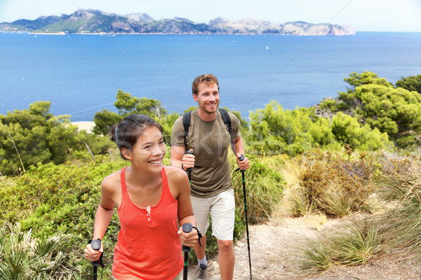 Hikers hiking in Mallorca mediterranean Europe Stock photo © Maridav