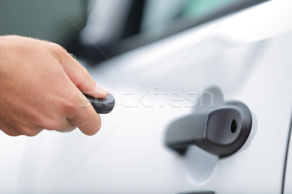 Man locking car door using remote control key fob Stock photo © Maridav