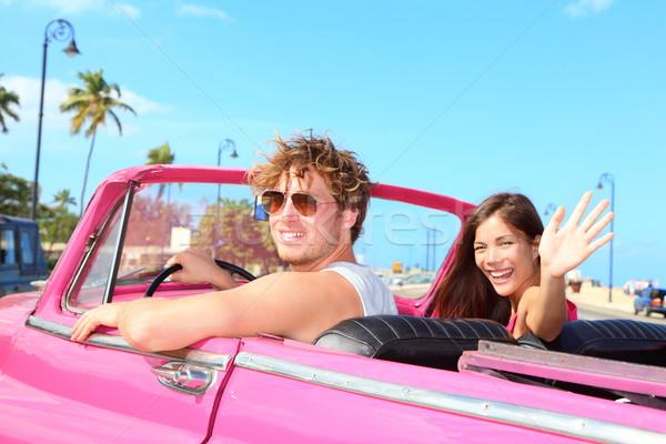 Stock photo: Couple happy in vintage retro car