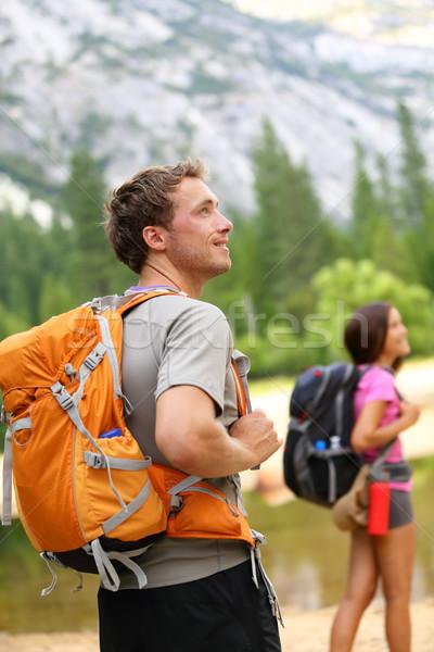 ハイキング 人 男 ハイカー 見える 自然 ストックフォト © Maridav