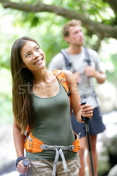 Couple hiking in forest during travel Maui, Hawaii Stock photo © Maridav
