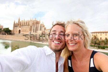 Travel couple in love having fun Venice romance Stock photo © Maridav