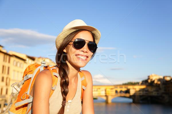 Backpacking women traveler in Florence Stock photo © Maridav